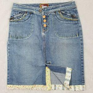 Blue Asphalt Embroidered Jean Skirt